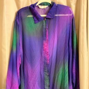 Tops - Plus size sheer long shirt